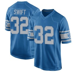 Nike D'Andre Swift Detroit Lions Youth Game Blue Throwback Vapor Untouchable Jersey